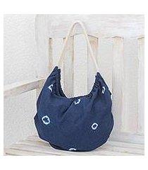 tie-dyed cotton hobo handbag, 'indigo spots' (el salvador)