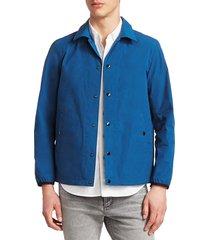 rag & bone men's flight coaches recycled nylon jacket - blue - size l