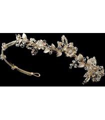gold silver floral leaf design crystal rhinestone bridal tiara prom headband