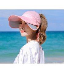 verano nuevo protector solar femenino sombrero para el sol rosa