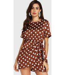 marrón con lunares anudados diseño dobladillo cruzado vestido