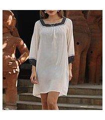 silk shift dress, 'fresh vanilla' (india)