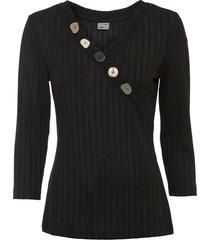 maglia con bottoni (nero) - bodyflirt