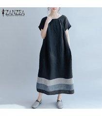 zanzea las mujeres de manga corta a rayas remiendo medio corto flojo del vestido ocasional -negro