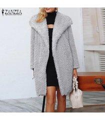 zanzea mujeres spring open front tunic cardigan jumper jerséis de punto fleece coat -gris