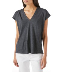 women's frame le mid rise v-neck organic pima cotton t-shirt, size small - grey