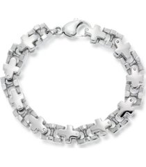 andrew charles by andy hilfiger men's cross link bracelet in stainless steel