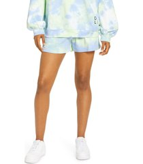 women's by. dyln lincoln tie dye cotton blend shorts, size x-small - blue/green