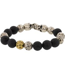 john varvatos lava skull bead bracelet - black