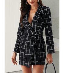 yoins atado negro diseño manga larga con cuello en v a cuadros vestido