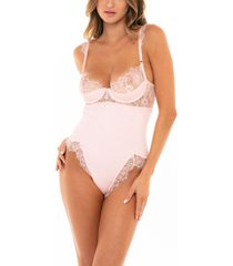 women's rib knit and eyelash lace teddy with unlined cups and front and back high leg slits