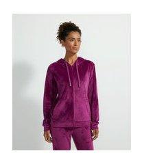 jaqueta básica esportiva plush com capuz e bolso canguru | get over | roxo | gg