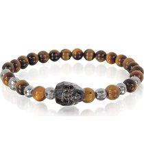 blackbourne designer men's bracelets, brown tigers eye irregular stone men's bracelet w/gunmetal swarovski crystal skull