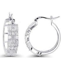 macy's cubic zirconia rhodium plated round and baguette hoop earrings