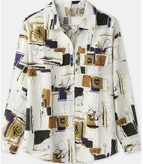 camicetta casual a maniche lunghe con fessura e bottoni con stampa scozzese floreale