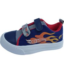 zapatilla de lona azul hot wheels doble abrojo