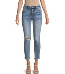flying monkey women's mid-rise distressed cropped skinny jeans - dark blue - size 31 (10)