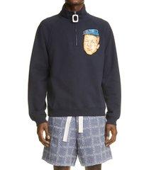 jw anderson face applique half zip sweatshirt, size medium - blue