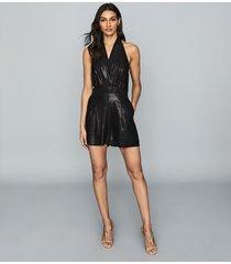 reiss essie - shimmer halterneck playsuit in black, womens, size 12