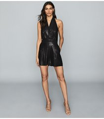 reiss essie - shimmer halterneck playsuit in black, womens, size 12