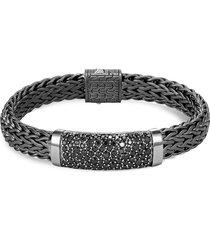 'classic chain' sapphire rhodium silver flat chain bracelet
