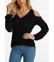 negro hombro frío diseño camisetas de manga larga con cuello en v delantero plisado