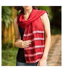 silk blend scarf, 'floral wine' (thailand)