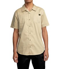 rvca day shift short sleeve button-up shirt, size medium in khaki at nordstrom