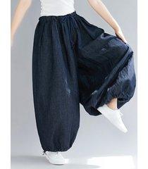 pantaloni harem allentati in vita elastica con coulisse in denim