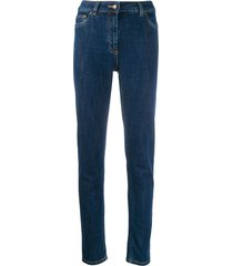 moschino teddy embroidered skinny jeans - blue