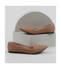 slipper feminino moleca bico fino texturizado bege
