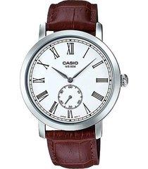 reloj analógico hombre casio mtp-e150l-7b cronógrafo - marrón con blanco