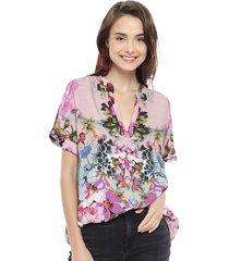 blusa desigual mc multicolor - calce holgado