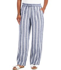 charter club linen striped straight-leg pants, created for macy's