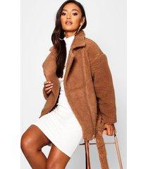 petite teddy faux fur biker jacket, brown