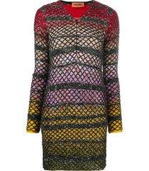missoni glitter open-knit fitted dress - black