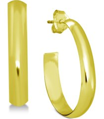 essentials polished oblong small hoop in fine silver plate earrings