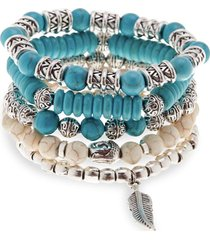jean claude men's 5-piece natural stone & stainless steel stretch bracelet - turquoise