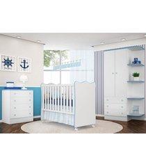 jogo de quarto infantil doce sonho com berço simples branco/azul - qmovi