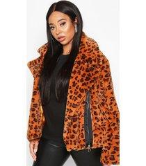 plus leopard print faux fur aviator jacket, brown