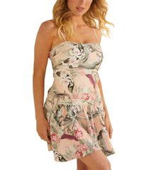guess printed sophie linen dress