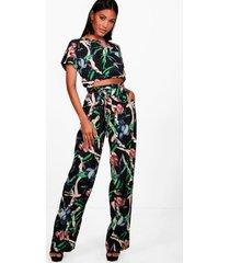 capri met gemixte print & set voor de trouser, zwart