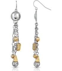 2028 silver-tone and gold-tone tassel earrings