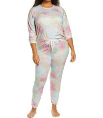 plus size women's pj salvage peachy pajamas, size 1x - blue