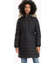 tommy hilfiger women's essential hooded down coat tommy black - l