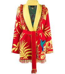 alanui belted wrap cardigan - red