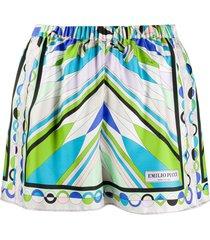 emilio pucci abstract print silk shorts - multicolour