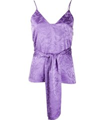 msgm floral-jacquard belted camisole - purple