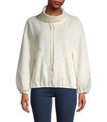 max studio women's waffle knit pullover sweater - winter white - size s