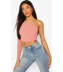 recycled one shoulder rib crop top, dusky pink